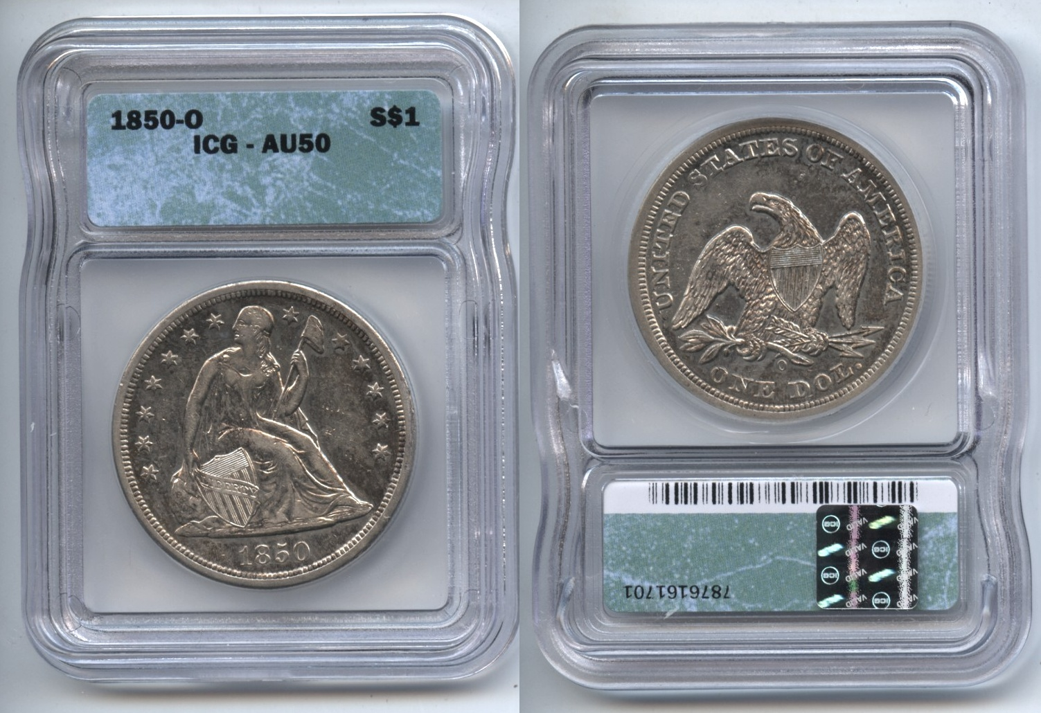 1850-O Seated Liberty Silver Dollar ICG AU-50