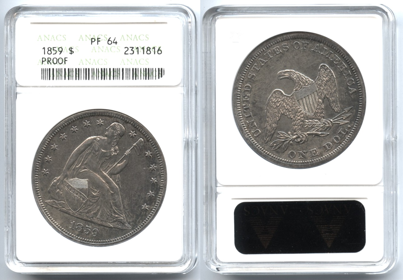 1859 Seated Liberty Silver Dollar ANACS Proof-64