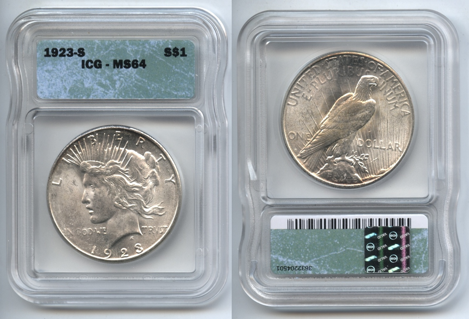 1923-S Peace Silver Dollar ICG MS-64