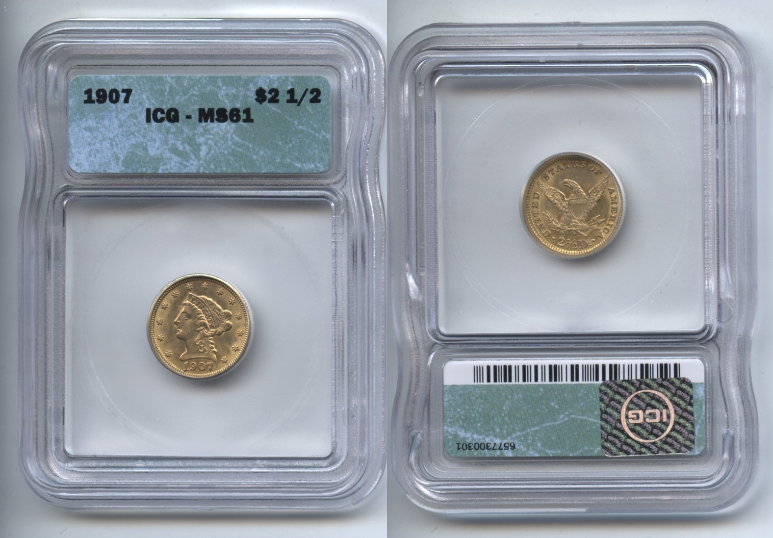 1907 Gold $2.50 Quarter Eagle ICG MS-61