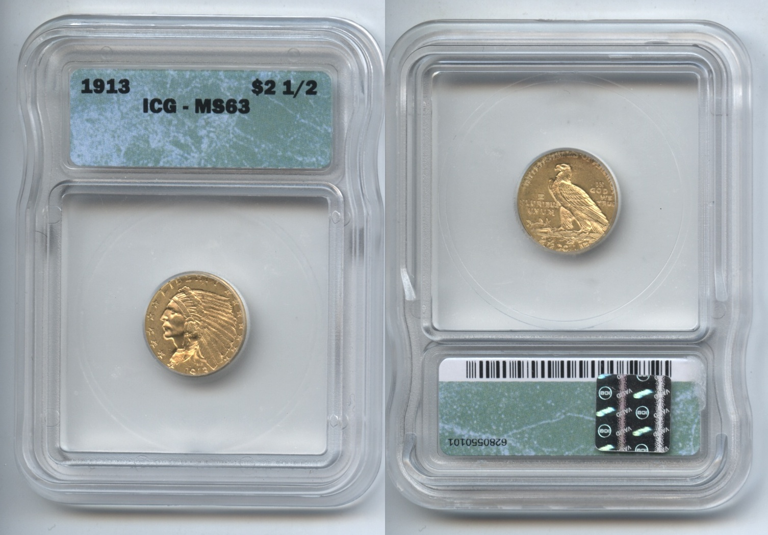 1913 Indian Head Gold $2.50 Quarter Eagle ICG MS-63