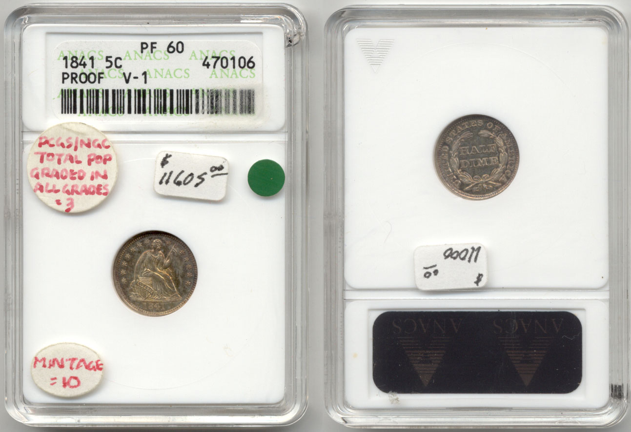1841 Seated Liberty Half Dime ANACS Proof-60