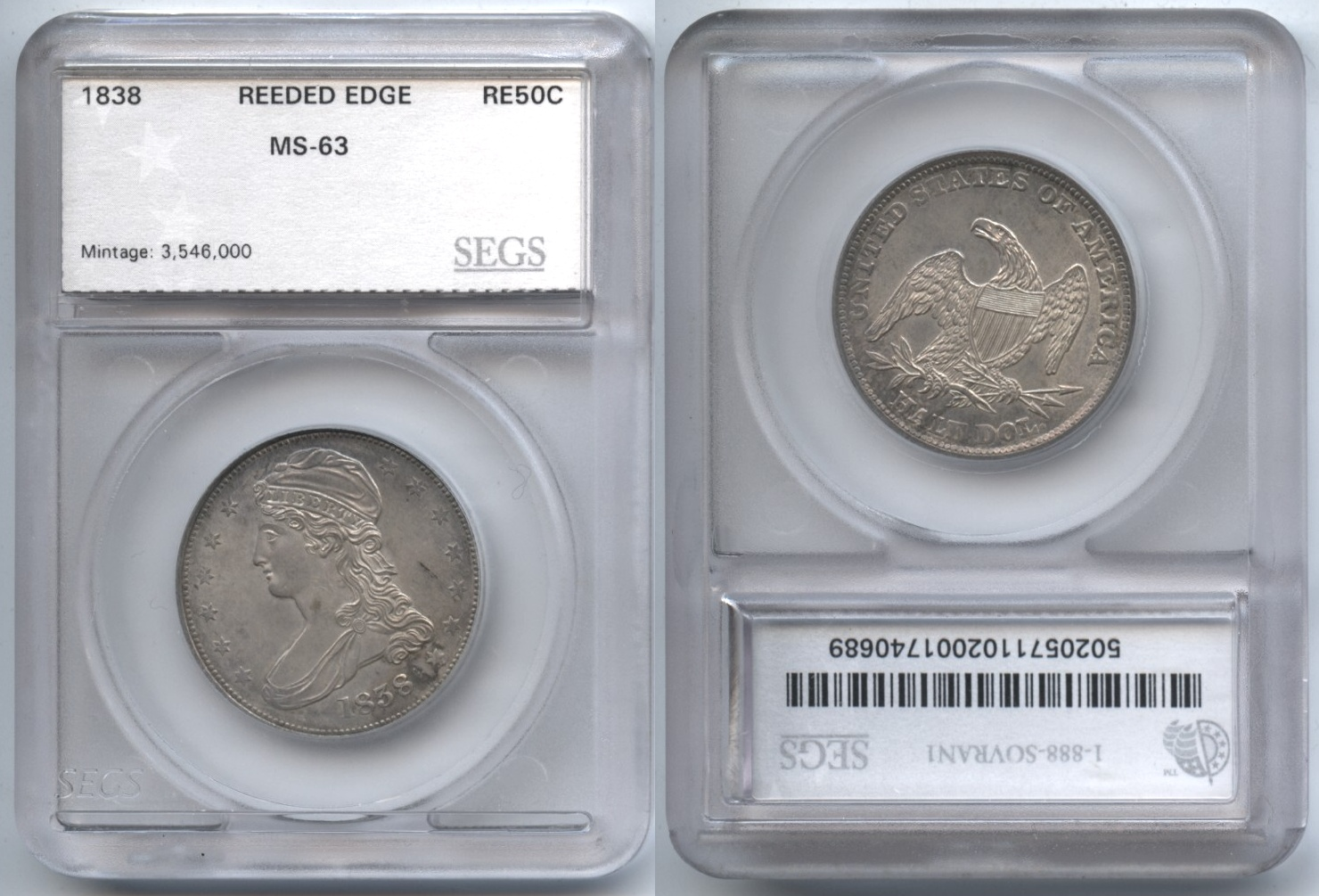 1838 Reeded Edge Capped Bust Half Dollar SEGS MS-63