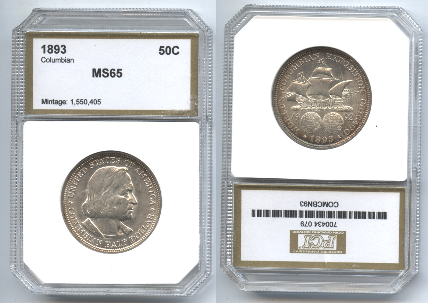 1893 Columbian Commemorative Half Dollar PCI MS-65 #a