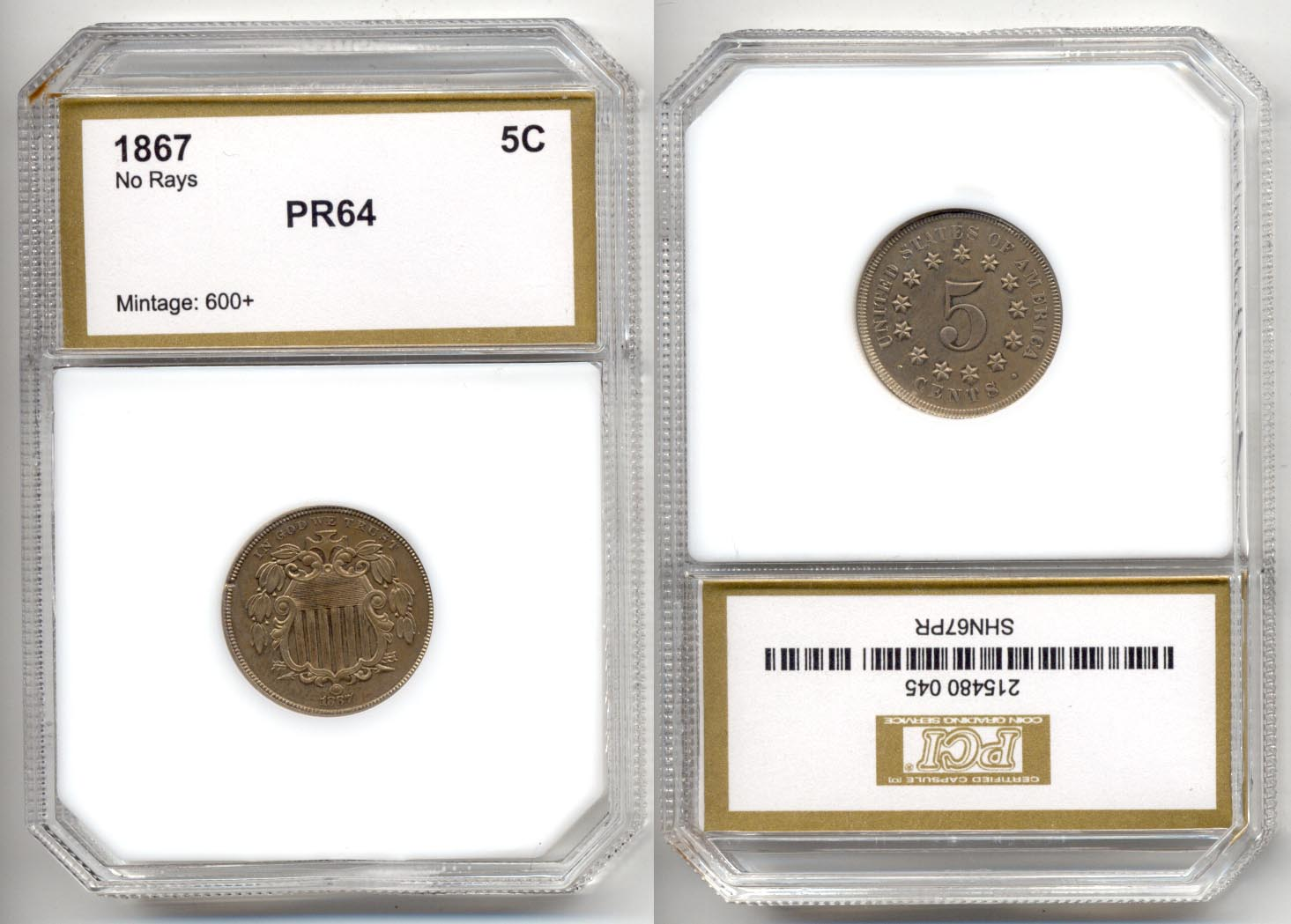 1867 No Rays Shield Nickel PCI Proof-64