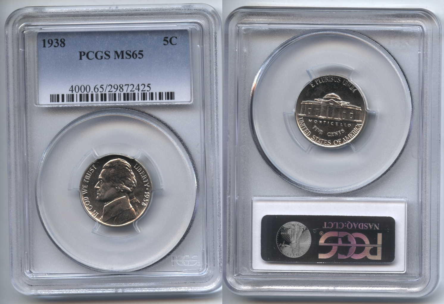 1938 Jefferson Nickel PCGS MS-65