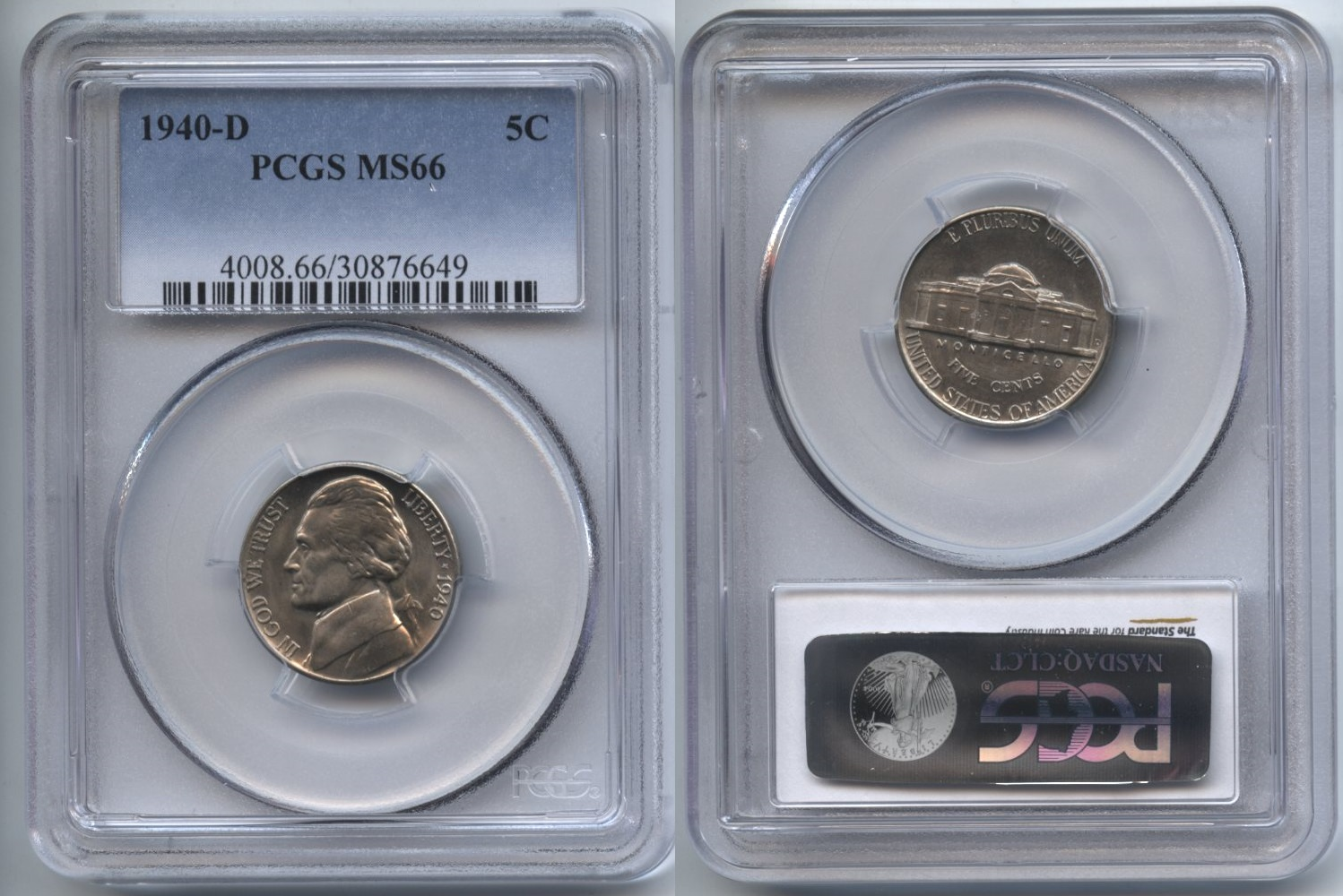1940-D Jefferson Nickel PCGS MS-66