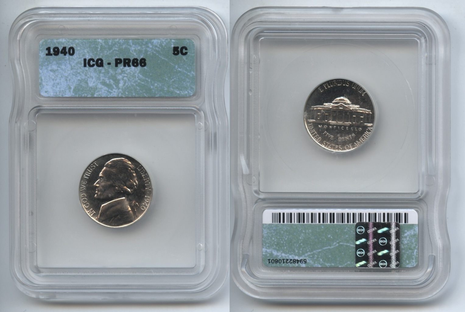 1940 Jefferson Nickel ICG Proof-66
