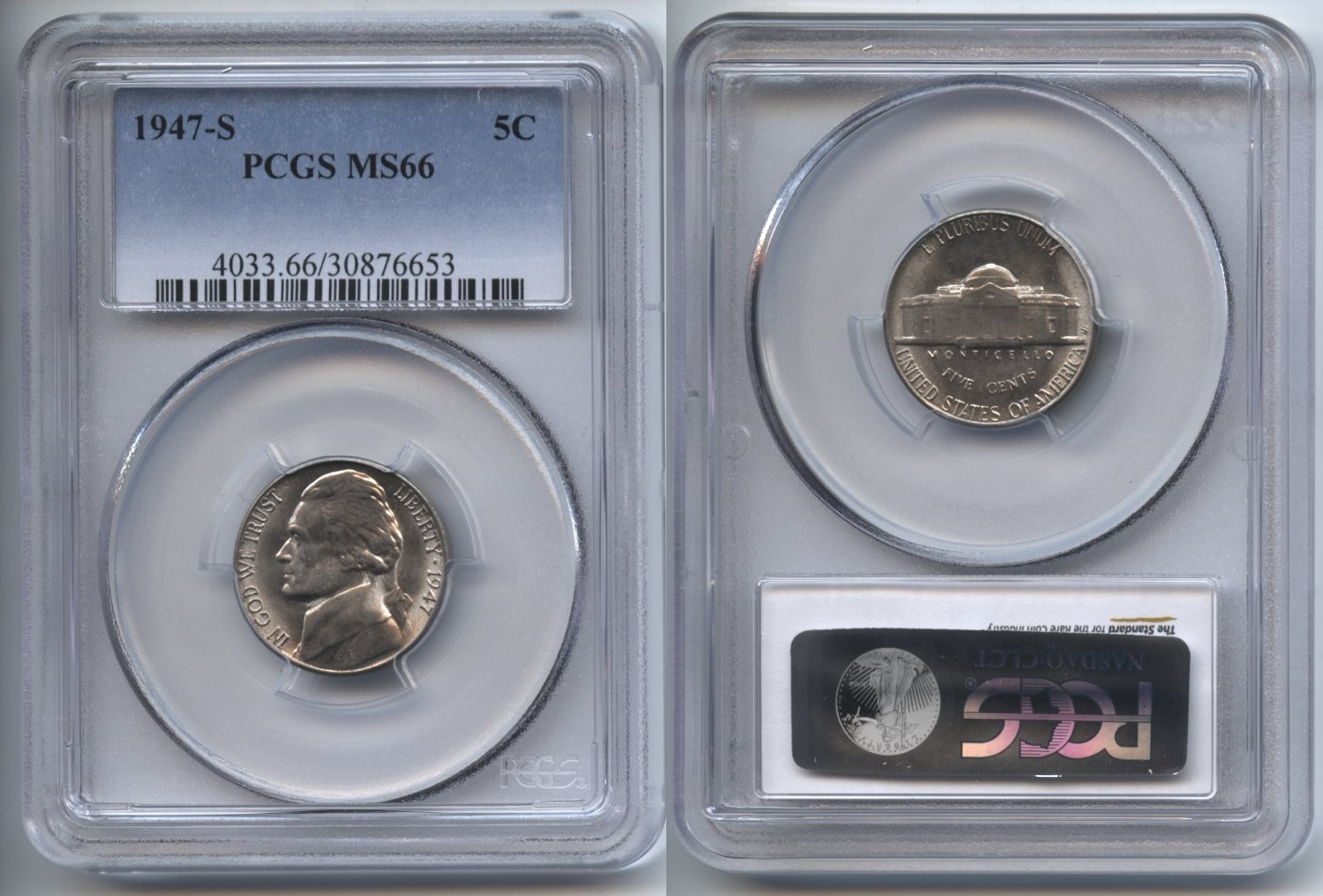 1947-S Jefferson Nickel PCGS MS-66