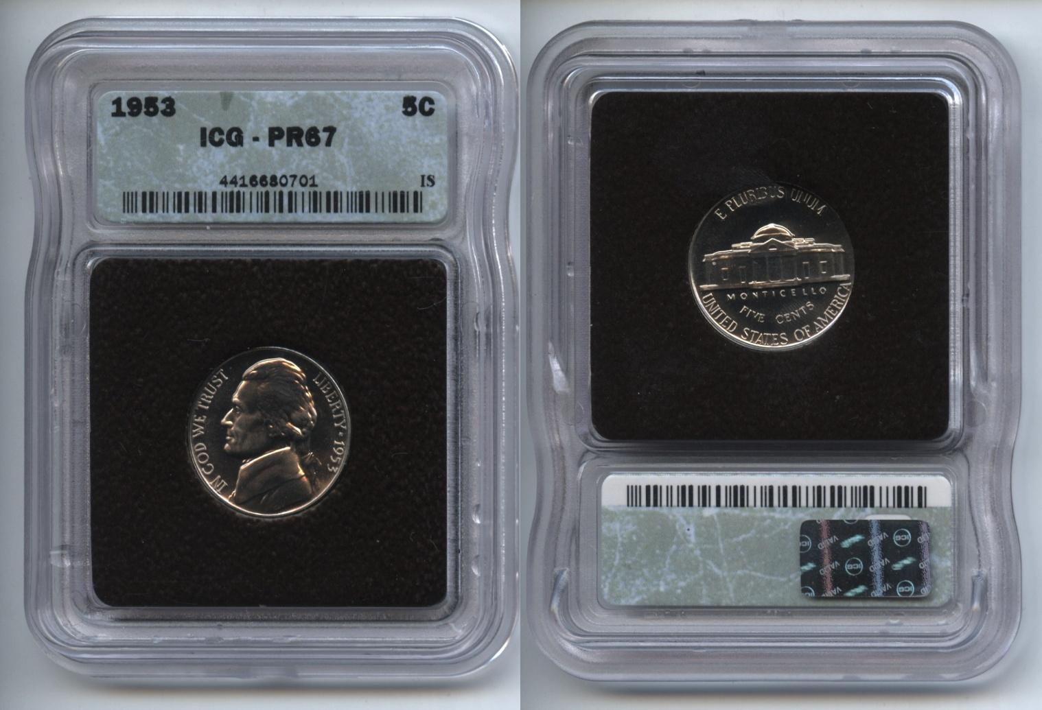 1953 Jefferson Nickel ICG Proof-67