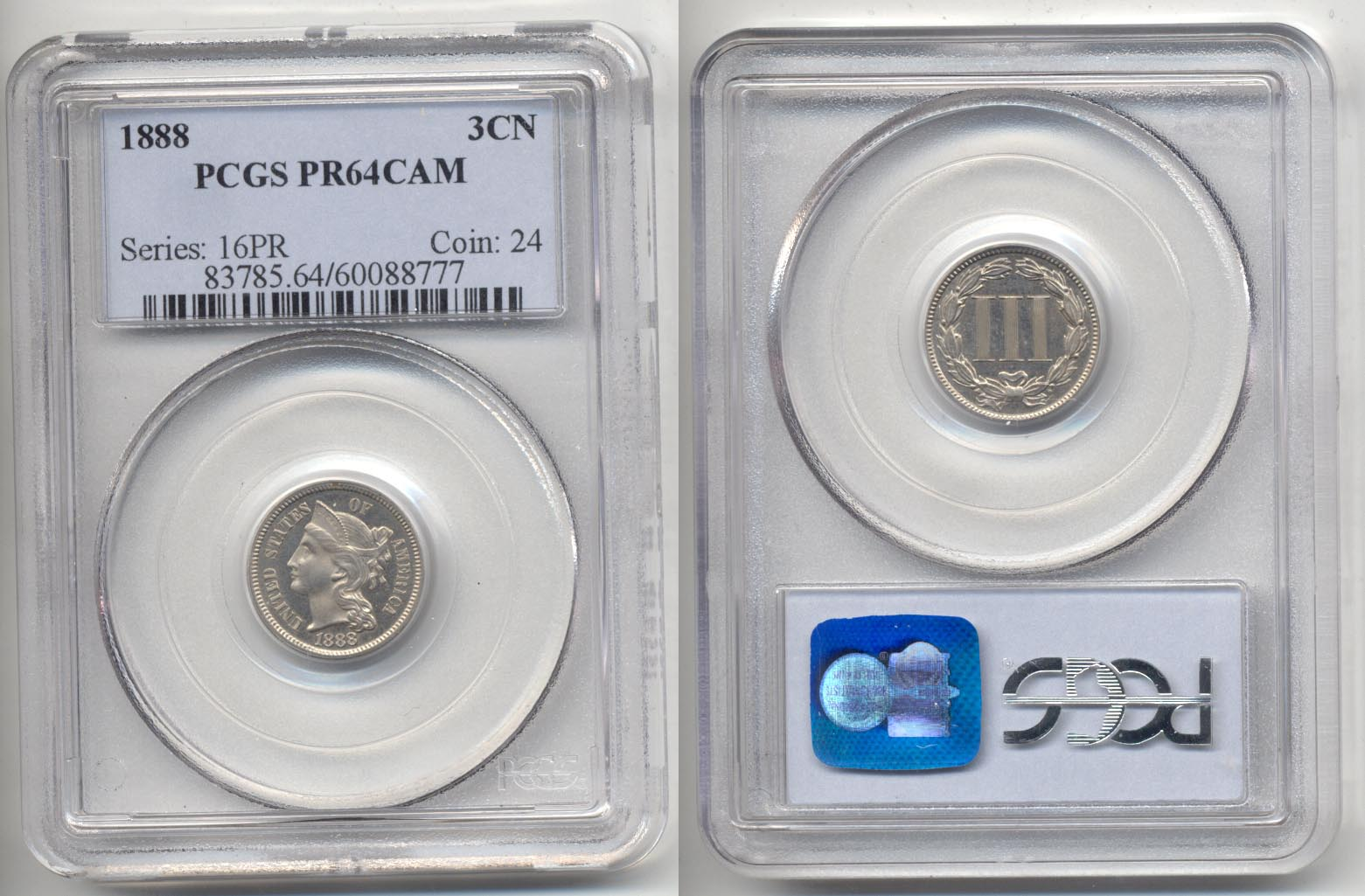 1888 Three Cent Nickel PCGS Proof-64 Cameo