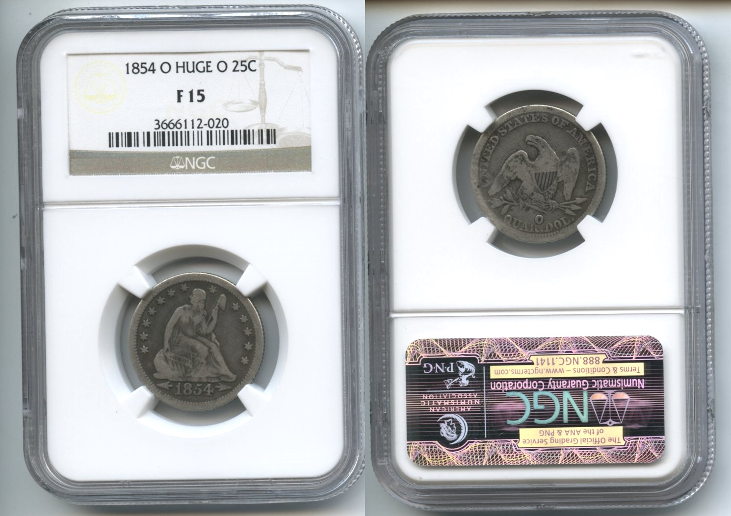 1854-O Huge O Seated Liberty Quarter NGC Fine-15