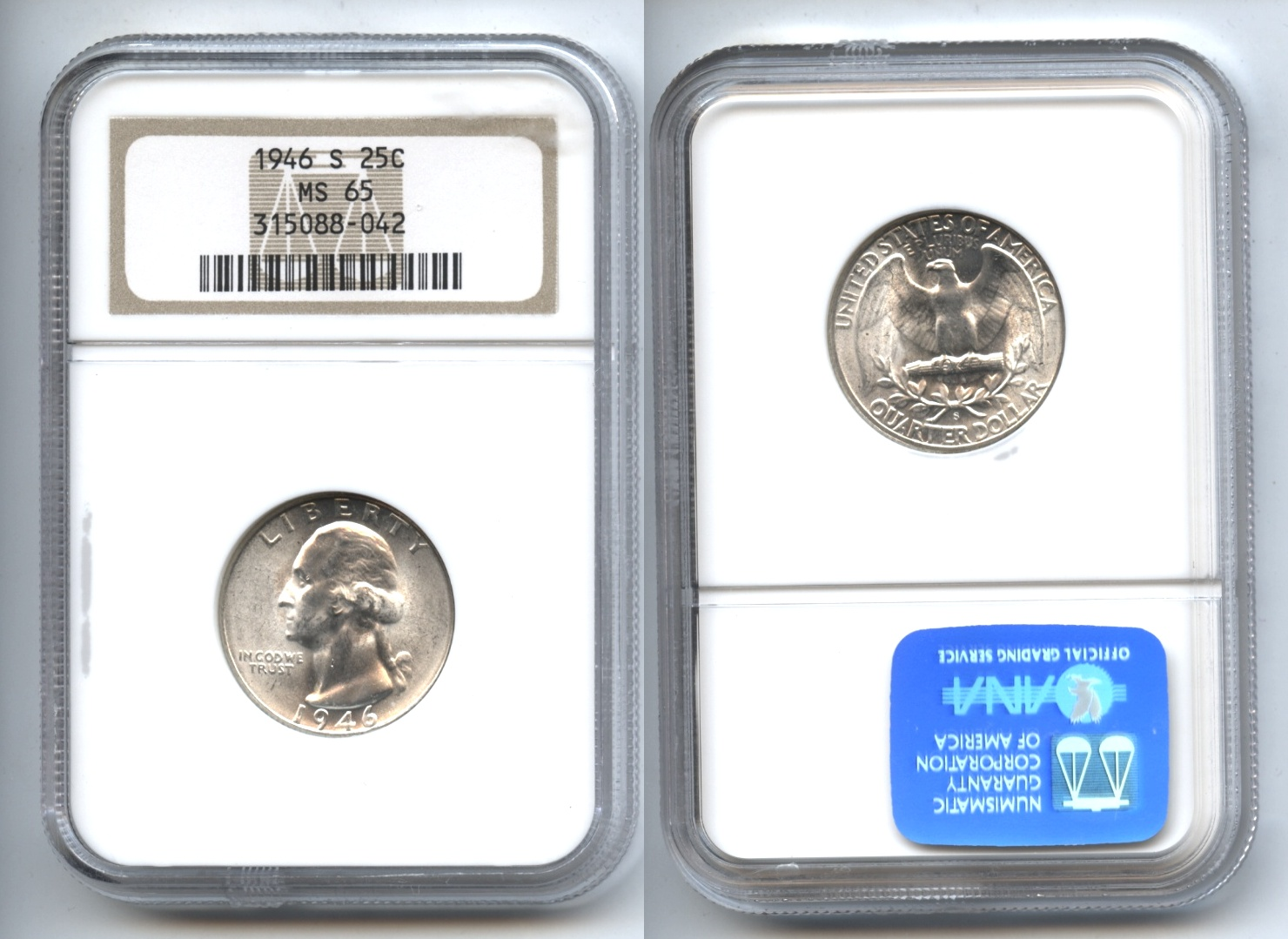 1946-S Washington Quarter NGC MS-65 #b