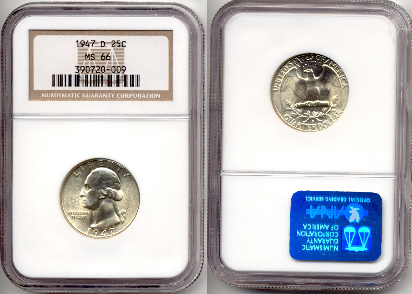 1947-D Washington Quarter NGC MS-66