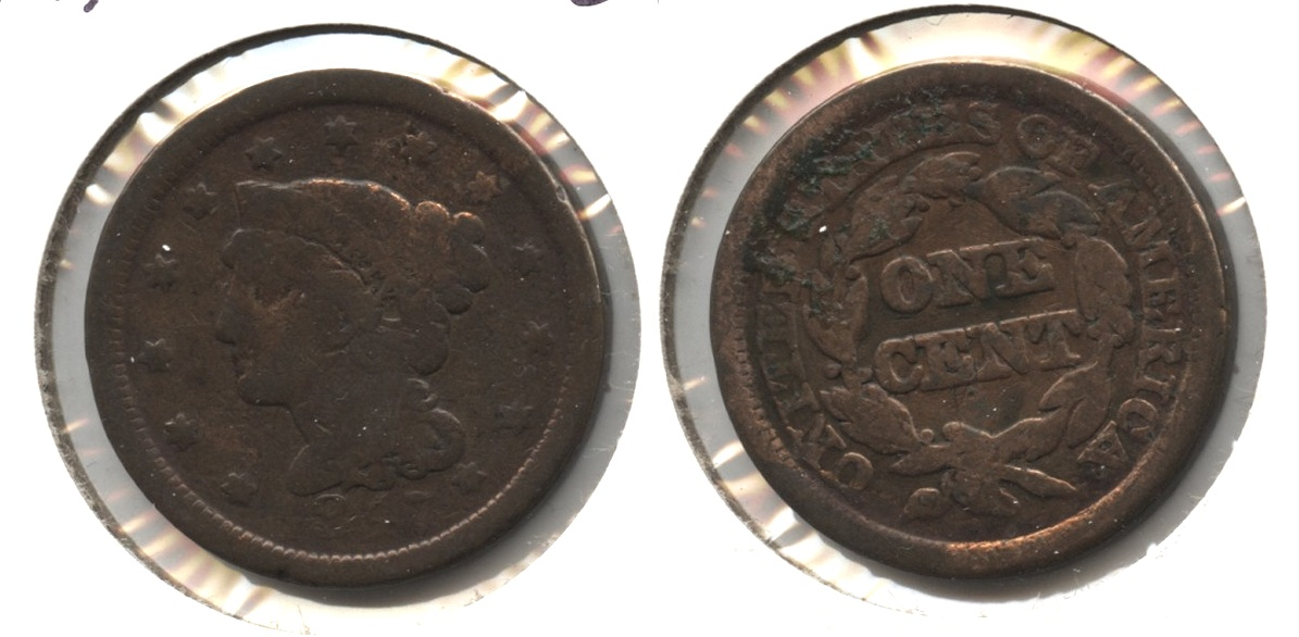 1847 Coronet Large Cent Good-4 #j Old Cleaning