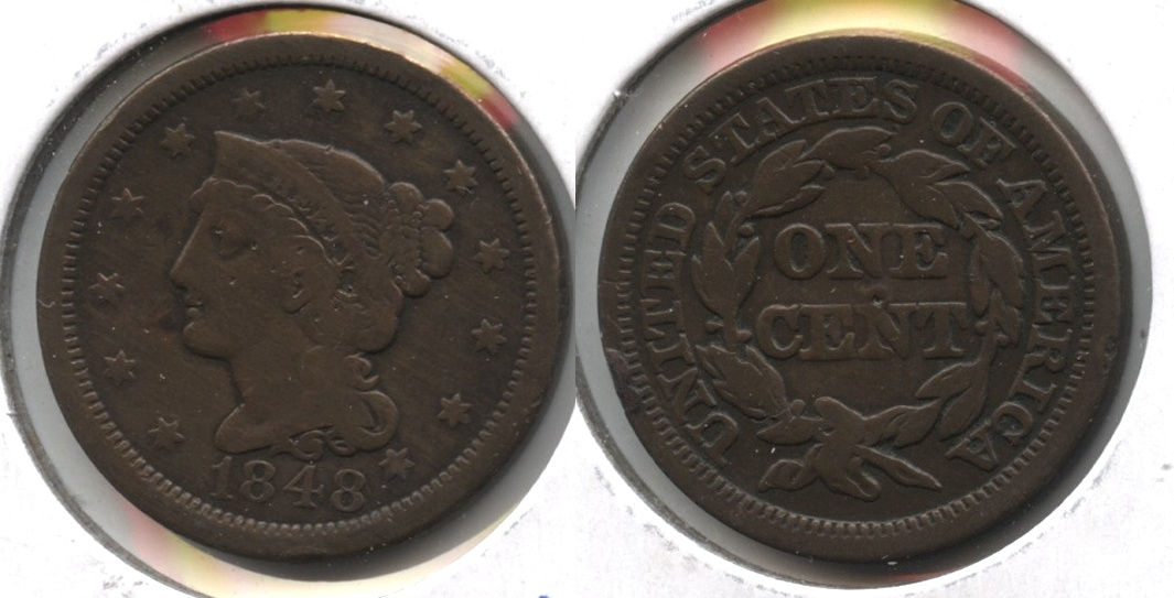 1848 Coronet Large Cent Good-6 Cleaned Retoned