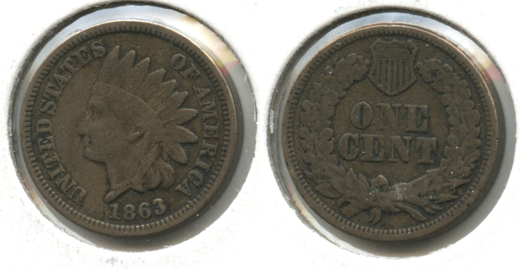 1863 Indian Head Cent Fine-12 #v