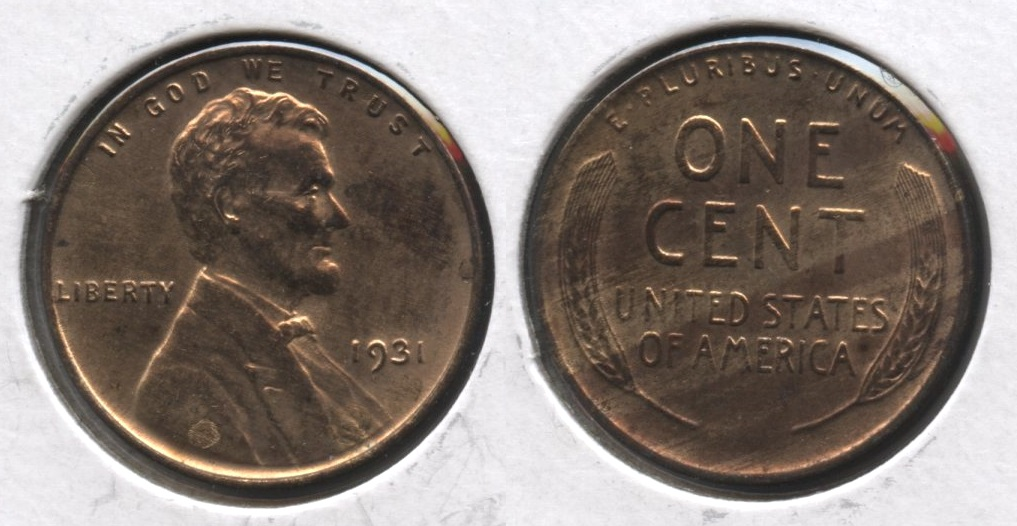 1931 Lincoln Cent MS-63 Red Brown #c