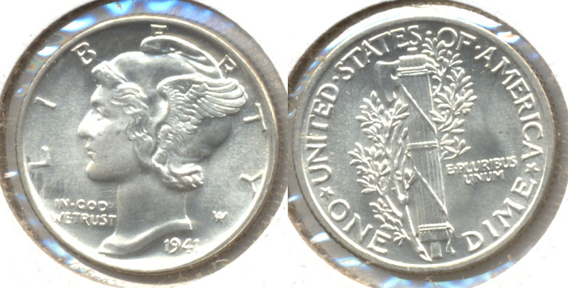 1941 Mercury Dime MS-63 h