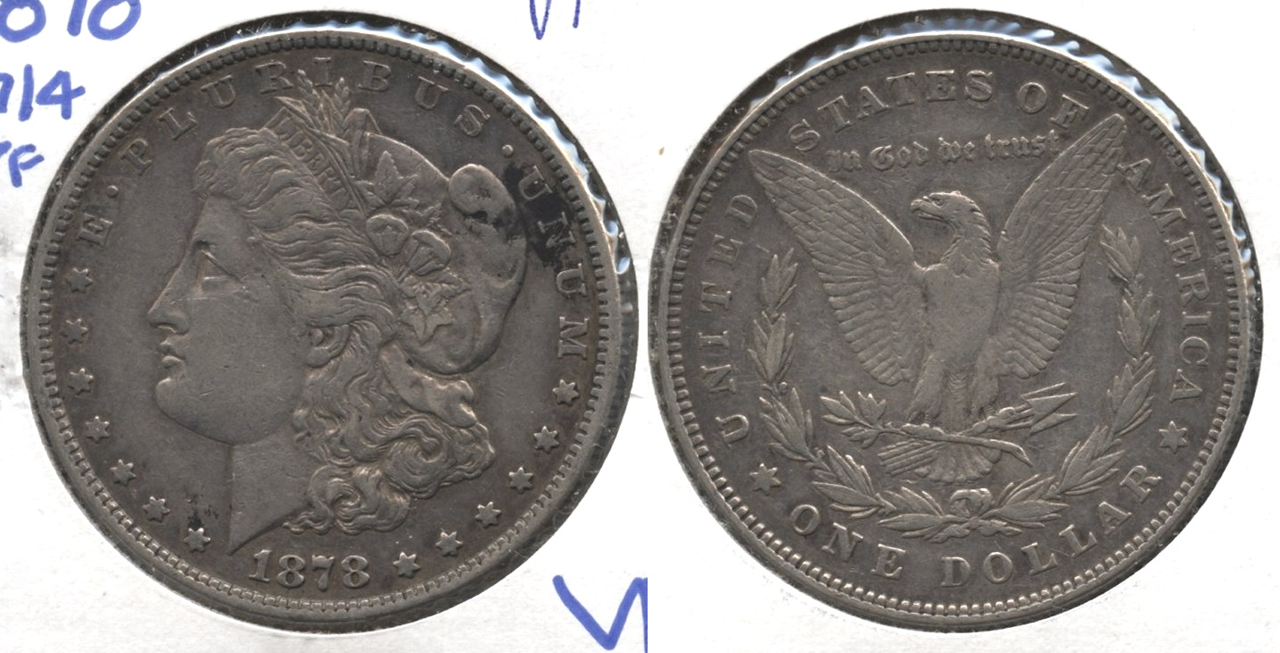 1878 Morgan Silver Dollar 7 over 8 Tailfeathers VF-20 #c
