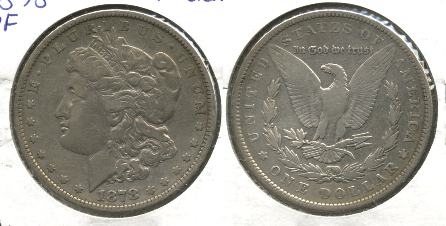 1878 Morgan Silver Dollar 7 Tailfeathers Fine-12 #a Cleaned