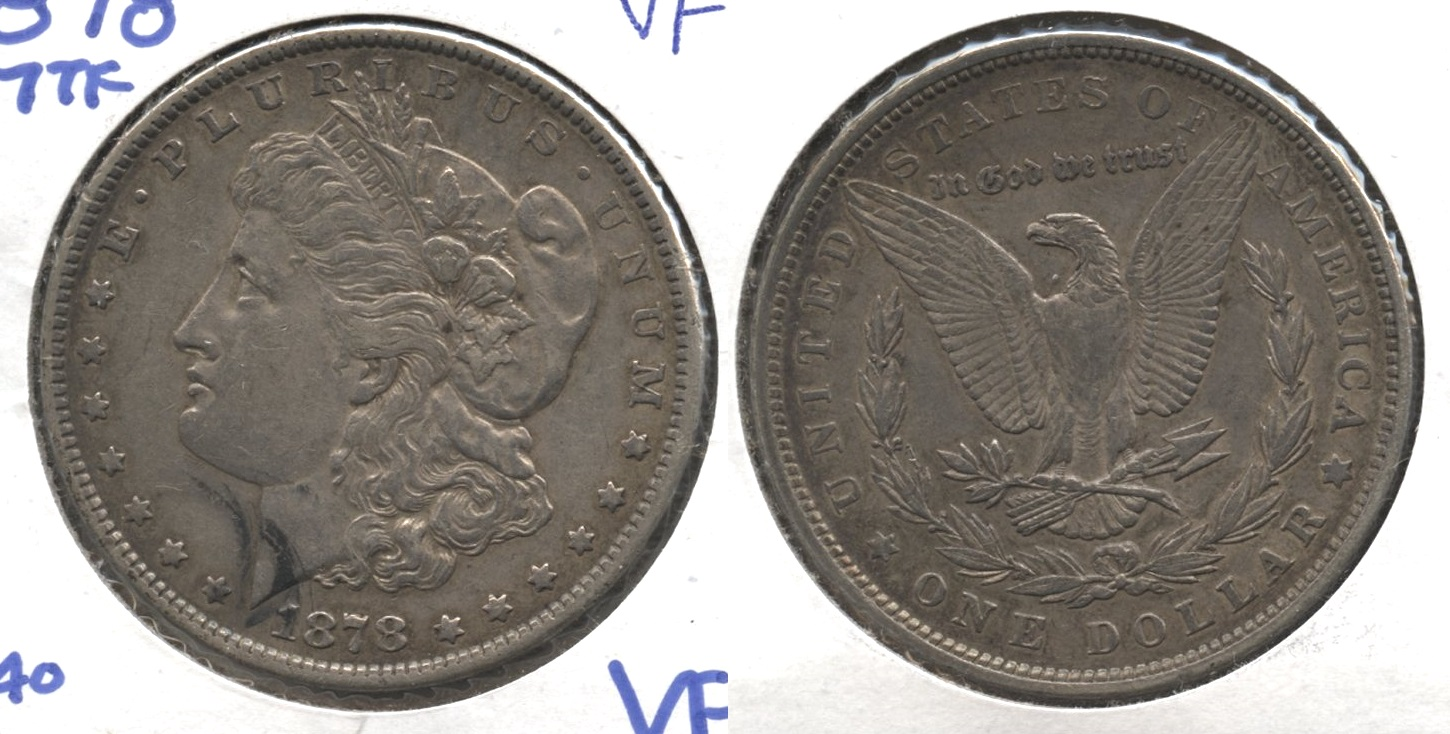 1878 Morgan Silver Dollar 7 Tailfeathers VF-20 #h