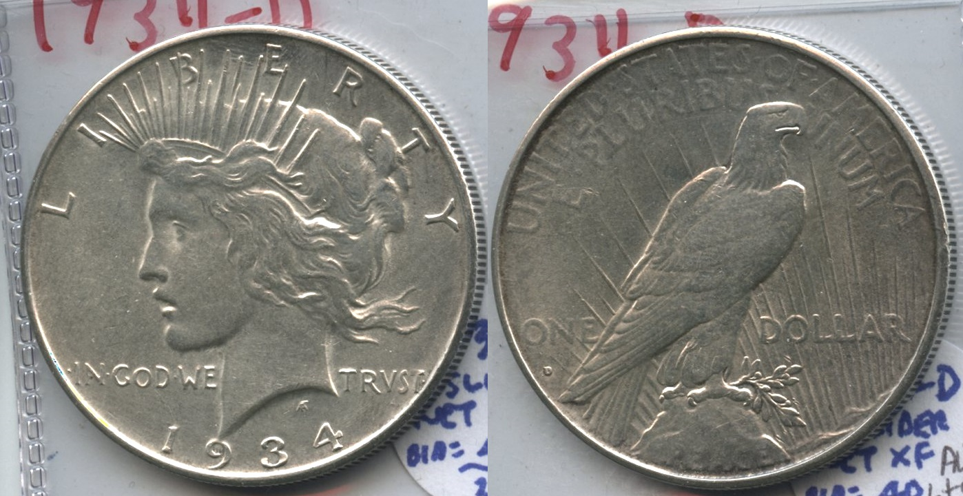 1934-D Peace Silver Dollar AU-55 #a Lightly Cleaned