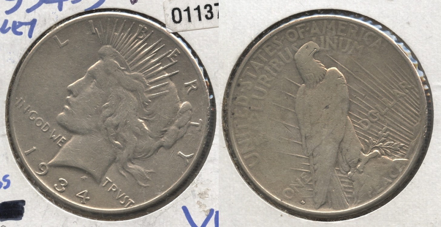 1934-S Peace Silver Dollar VF-20 #g