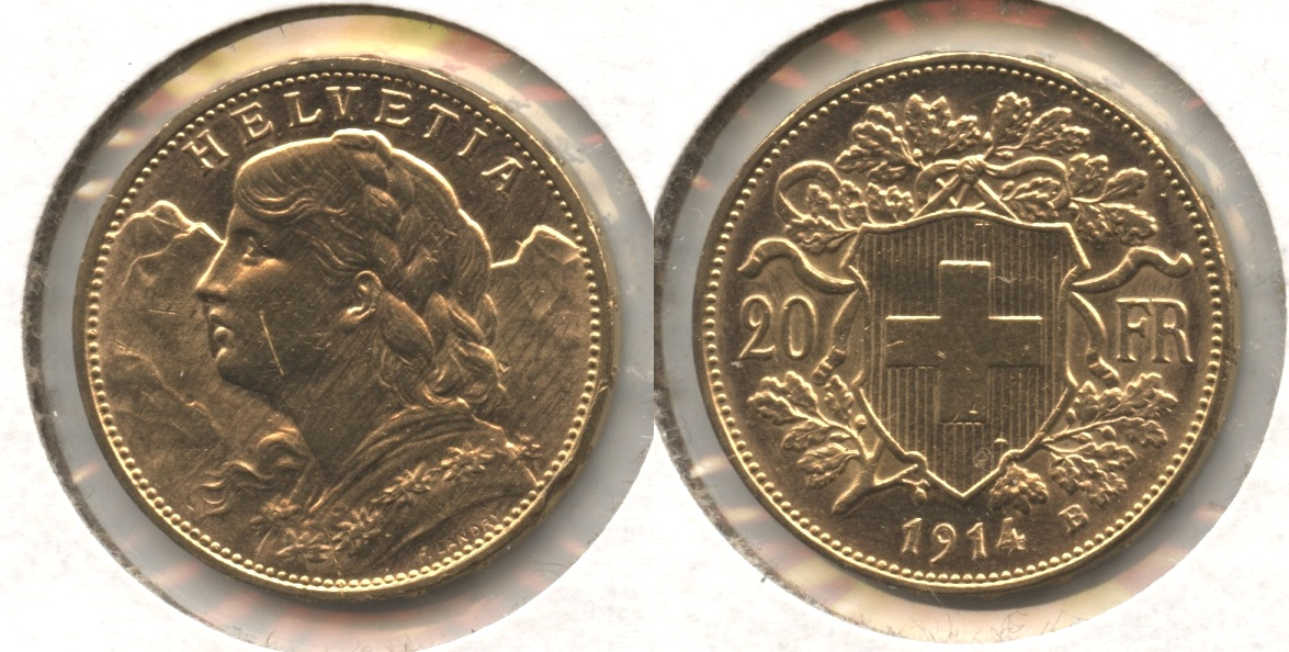 1914-B Switzerland 20 Francs AU-55