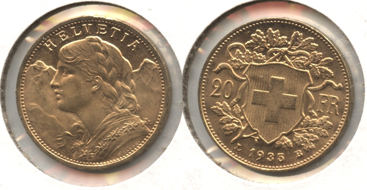 1935 Switzerland 20 Francs AU-55 #a