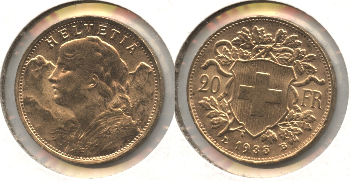 1935 Switzerland 20 Francs AU-55 #d