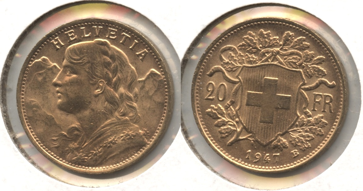 1947 Switzerland 20 Francs AU-55 #a