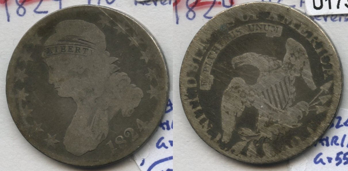 1824 Capped Bust Half Dollar AG-3 Abraded Reverse