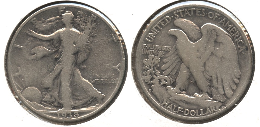 1938-D Walking Liberty Half Dollar VG-8 #m