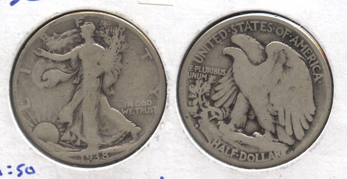 1938-D Walking Liberty Half Dollar VG-8 #r