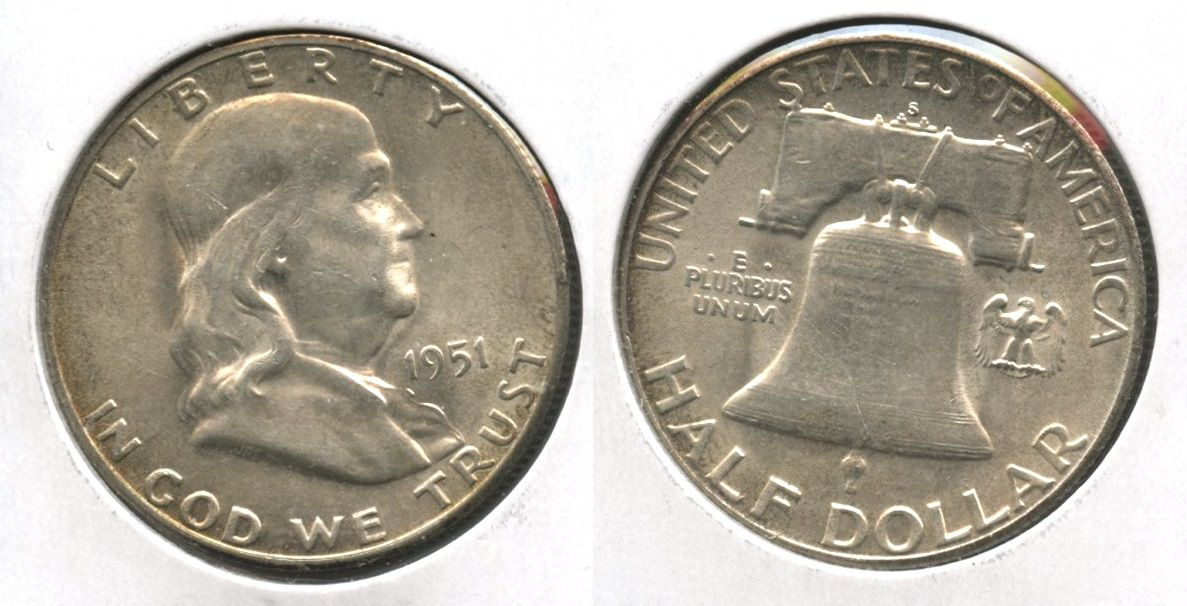 1951-S Franklin Half Dollar AU-50 #bb