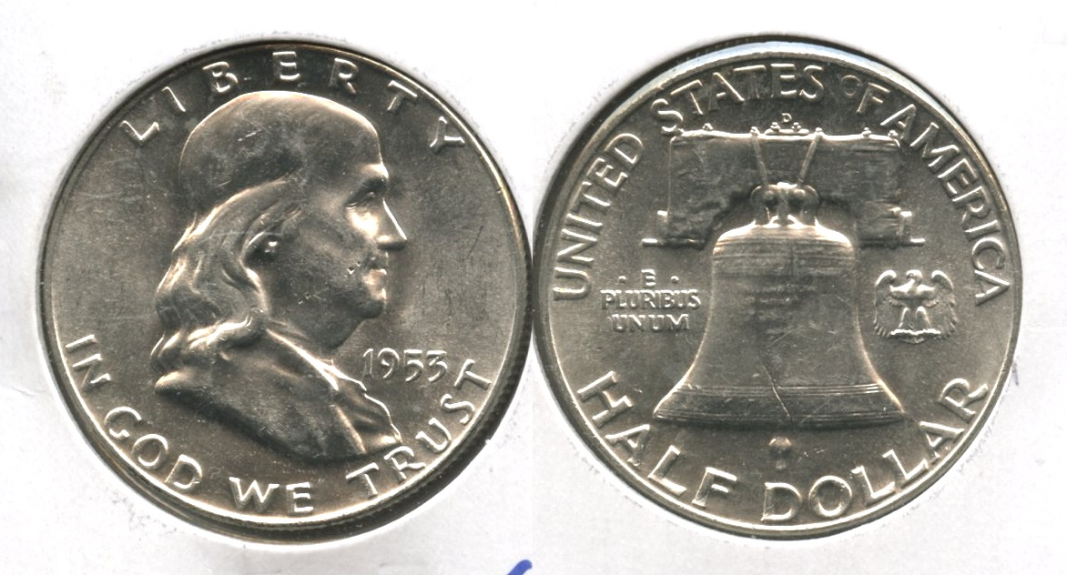 1953-D Franklin Half Dollar AU-55 #a