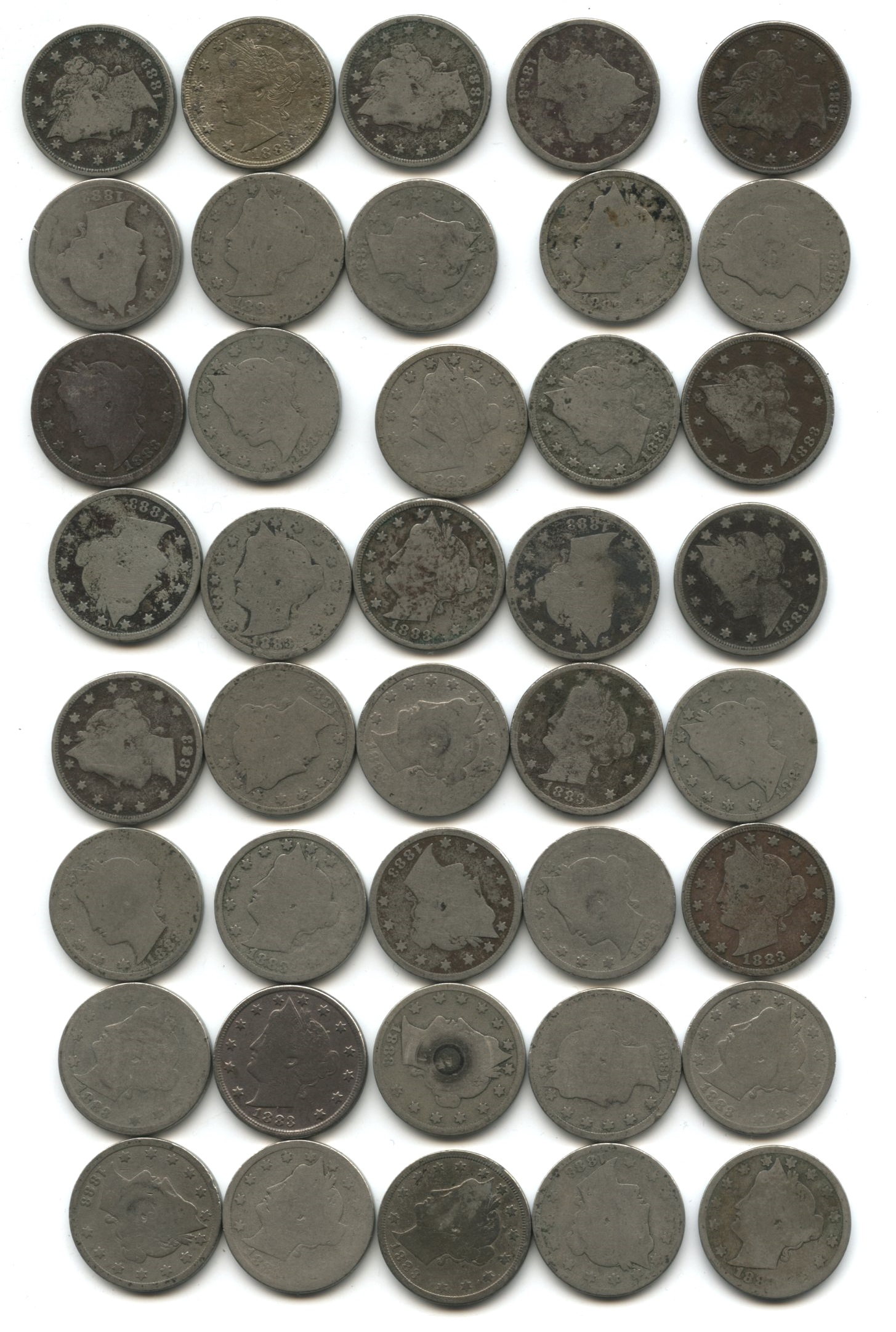 1883 With Cents Liberty Head Nickel Fair-2 #af Roll