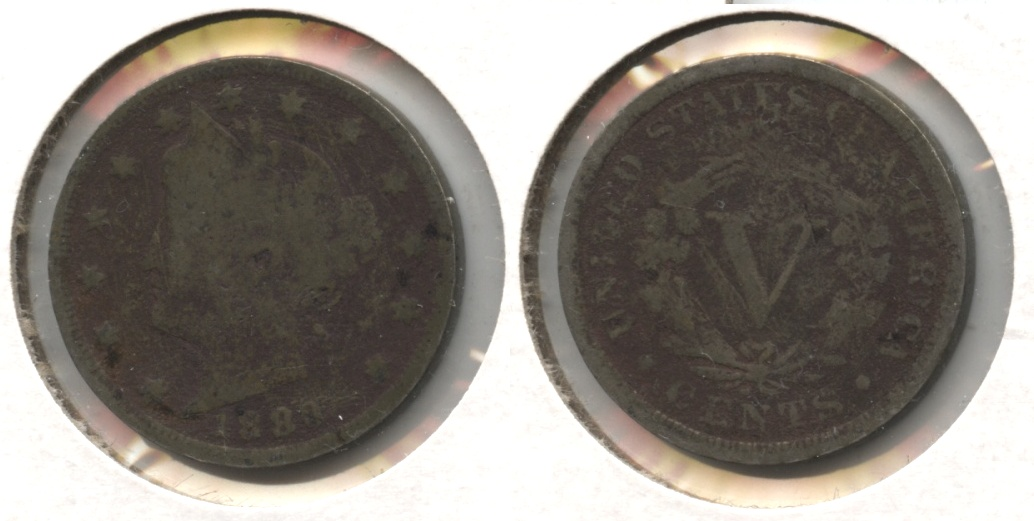 1883 With Cents Liberty Head Nickel Good-4 #v Dark