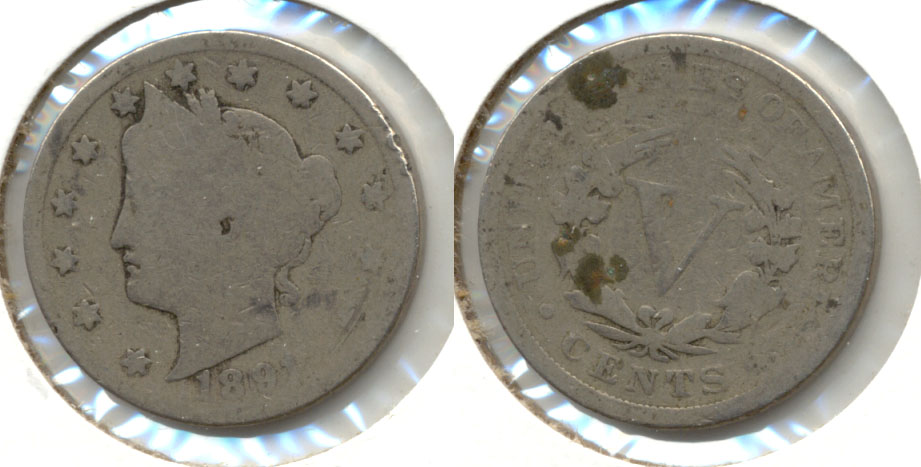 1891 Liberty Head Nickel AG-3 m Reverse Matter