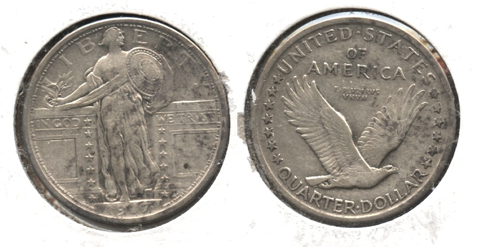 1917 Type 1 Standing Liberty Quarter EF-45