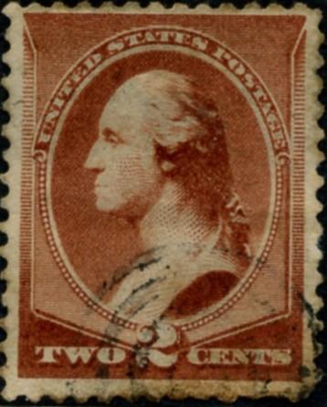 Scott 210 Washington 2 Cent Stamp Red Brown