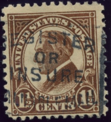Scott 553 Harding 1 1/2 Cent Stamp Yellow Brown Definitive
