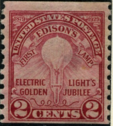 Scott 656 2 Cent Stamp Edison Light Bulb coil stamp