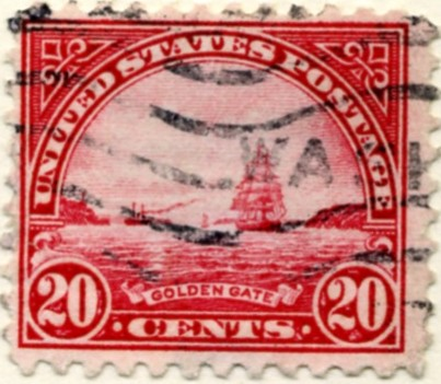 Scott 698 Golden Gate 20 Cent Stamp Carmine Rose Blue Series Of 1922 1925 Rotary