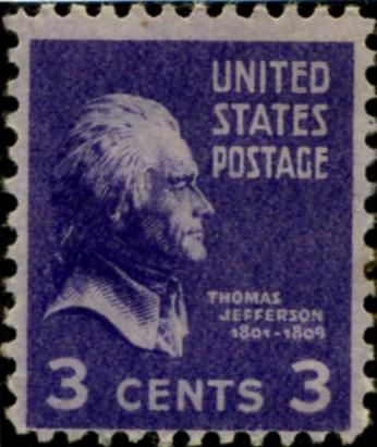 Scott 807 3 Cent Stamp Thomas Jefferson