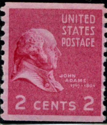 Scott 841 2 Cent Stamp John Adams Coil Perforated Vertically