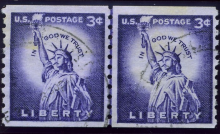 Scott 1057 3 Cent Stamp Statue Of Liberty Coil Pair