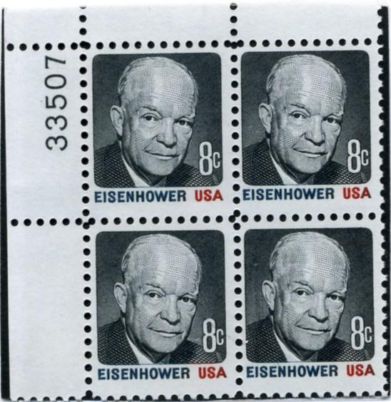 Scott 1394 8 Cent Stamp Dwight D Eisenhower Red Black And Blue Plate Block