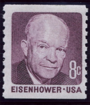 The Scott 1402 8 Cent Stamp Dwight D. Eisenhower Coil Stamp